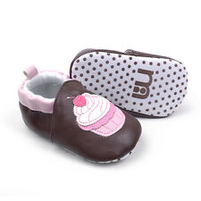 New Soft Sole Baby Girl's Pink-Cupcake Crib Shoes. Age 3-6, 6-12, 12-18 Months