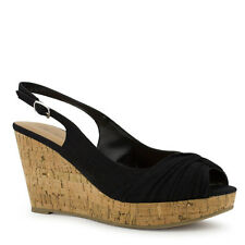 Womens Black Linen Peep-toe Sandal Cork Wedge Slingback City Classified Lutein