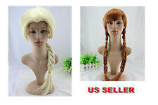 New Fashion Princess Frozen Snow Queen Elsa Anna Cosplay Party Wigs Girls Gift
