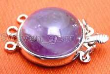 SALE Big 18mm Round Natural Purple Amethyst 3 strands Clasp-gp187_3