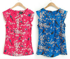 Red or Blue Birds & Blossoms Cap Sleeved Blouse - Size 12 UK - Animals, summer