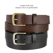 "Mens Genuine Leather Business Casual Belt, 1-1/4"" Wide, Made in the USA"