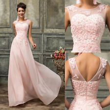 PINK Chiffon Applique Long Formal Bridesmaid Evening Prom Gown Cocktail Dresses