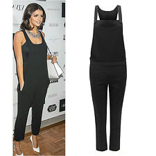 Ladies Womens Celebrity Dungaree Pinafore Tailored Jumpsuit Trouser Pants UK8-14