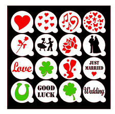 LOVE LUCK WEDDING Cupcake / Coffee Stencils / Masks - cakes / cards / crafts