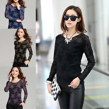 H Women Ladies Korean Long Sleeve Retro Lace Blouse Bottoming Shirt Casual Tops