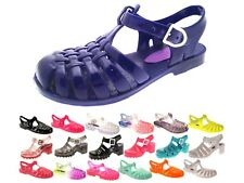Girls Jelly Sandals Shoes Chunky Block Heel Diamante Kids Summer beach jellies