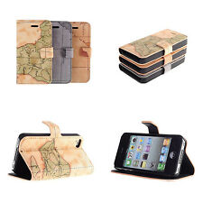 Antique World Map Leather Skin Case Cover Pouch Protector For Apple iPhone 4S 4