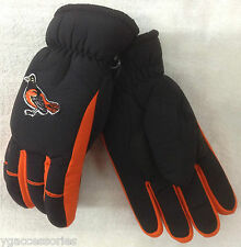 MLB Baltimore Orioles Thinsulate No Slip Gripper Ski Gloves w/ Knit Wrist Cuff