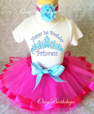 Princess Crown Blue Hot Pink baby Girl 1st First Birthday Tutu Outfit Shirt Set