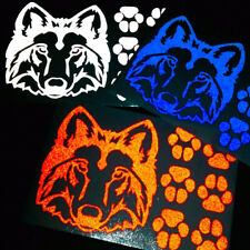 Hyper Reflective Wolf Head and Paws Motorcycle Helmet Decal Set #682R