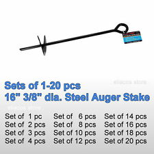 """(SET of 1-20 pc) 3/8"""" 16"""" Auger Anchor Ground Stake Secure Canopy Tent Carport"""