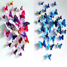 12pcs 3D Butterfly Art Decal Home Decor PVC Butterflies Wall Stickers Removable