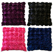 Decorative 3D Statement Satin Cushion Covers / Filled Rose Petals / Sofa Bedroom