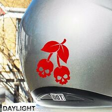 Cherry Skull Hyper Reflective Motorcycle Helmet Safety Decal #482R