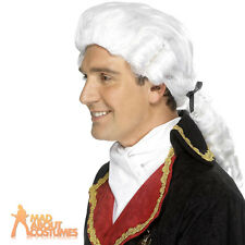 White Judge Wig Gents Barrister Court Baroque Fancy Dress Costume Accessory