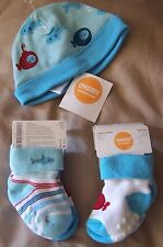 NWT GYMBOREE Hello Submarine Blue Beanie Hat OR 2 pr bootie socks 3-6 OR 6-12 mo
