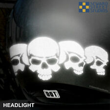 Hyper Reflective Five Skulls Decal Motorcycle Helmet Safety Sticker Set #687R
