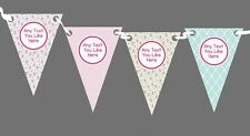 Small Roses Pink Stripes Personalised Shabby Chic Garden Tea Party Bunting