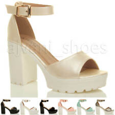 WOMENS LADIES HIGH HEEL PLATFORM CLEATED ANKLE STRAP PEEP TOE SHOES SANDALS SIZE