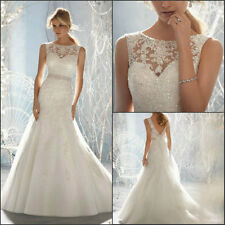 A-line Neckline Crystal Beads lace  Wedding Dresses Sleeveless Bridal Gowns