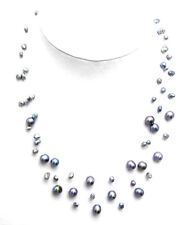 """SALE 4-6mm Black Baroque Natural Freshwater Pearl Starriness 18"""" Necklace-ne5121"""