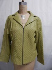 Bradley by Bradley Bayou Quilted Panel Leather Jacket  M Green New w/Tags