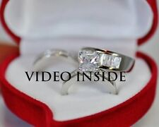 His&Hers 3 Pieces Ring Set Engagement Ring Wedding Diamond Ring Sterling Silver