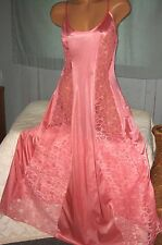 Coral Long Nightgown Floral Lace Panels 1X 2X 3X Womens Plus Size Gowns