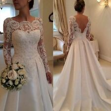 New On Stock Sexy Backless Long Sleeve Lace Wedding Dress Bridal Gown Dresses