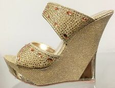 DODO 23-80 Prom Wedding Rhinestone Glitter High Heel Wedge Slide Mule Shoes Gold