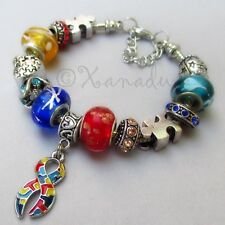 Autism Bracelet With Puzzle Awareness Ribbon Charm And European Lampwork Beads