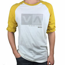 RVCA. Gold / White. Baseball Cut Long Sleeve Tee. Mens Size Large, X-Large