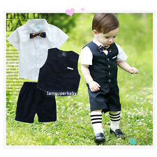 Boys Navy Suit, Page Boy Wedding Summer Pageant Party 3Pcs Set, 6mth - 8Yrs NEW