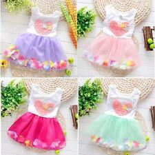 Kids Girls Baby Child Princess Party Flower Vest Dresses Tutu Skirt Clothes 0-4Y