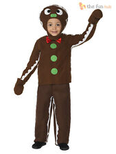 Kids Gingerbread Man Costume Boys Nativity Christmas Fancy Dress Outfit Toddler