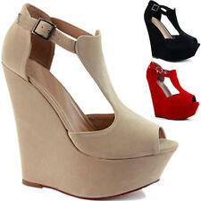 NEW LADIES WOMENS ANKLE PLATFORM PEEPTOE HIGH HEEL WEDGE SHOE SANDAL SIZE UK