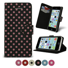 Polka Dots Design PU Leather Case for Apple iPhone 5c