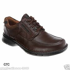 Clarks Unstructured Mens Un.Bend Casual Lace Up Oxford Brown Leather Shoes 85012