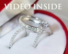 Fab*2.45CT Engagement Ring Set Wedding Band Platinum 22KT S.Silver Made in italy