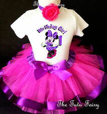 Minnie Mouse Pink Purple Baby Girl 1st First Birthday Tutu Outfit Shirt Set