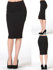 Basic Knit Pencil Skirt Sleak Stretch Tight Fitted Midi Below Knee Length