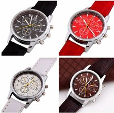 New Fashion Men's Round Dial Faux Leather Strap Watch Sport Quartz Wrist Watches