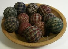 "12 Primitive Country 2"" Homespun Fabric Rag Balls Jar Bowl Basket Filler"