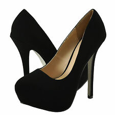 Women's Shoes Qupid Mady 14 Almond Toe Classic Stiletto Pumps Black *New*