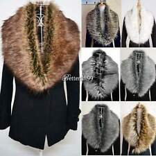 Women Faux Fur Collar Raccoon Fur Scarf Shawl Collar Scarves Wrap Stole Shrug Q