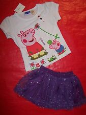 BNWT GIRLS LITTLE PIG WHITE TOP & PURPLE SEQUIN SKIRT - SIZE 1