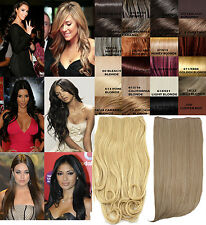 LADIES CLIP IN ONE PIECE CELEB STRAIGHT CURLY HAIR EXTENSION WEFT HAIRPIECE SET