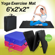 "Tri-Folding 6'x2'x2"" Gymnastics Gym Exercise Aerobics Mats Stretching Yoga Pad"
