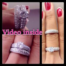 3.18CT Brilliant Cut Engagement Ring Wedding Ring Set S.925 Made in Italy Size8